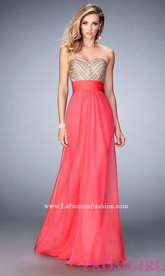 La Femme Long Strapless Open Back Dress Style: LF-22359