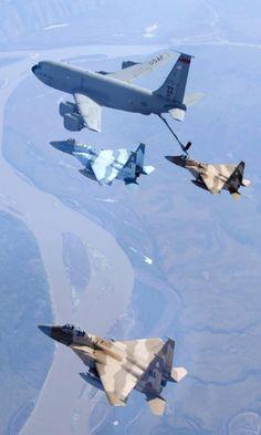 F-15 Eagles Receive Fuel