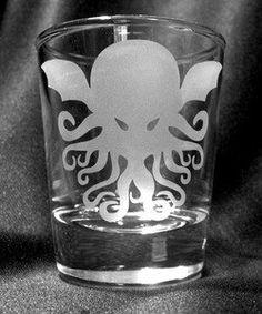 Cthulhu Custom Etched Shot Glass
