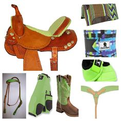 lime barrel racing tack jas collage. Love it:)