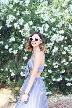 Emilee Anne wearing ASOS Top and Skirt Set // Superga Sneakers // Celine Sunglasses Summer Outfits, Cute Outfits, White Sunglasses, Summer Stripes, Fashion Colours, Queen, Well Dressed, Spring Summer Fashion, Dress To Impress