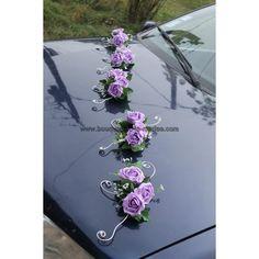 Pour votre mariage: composition fleurs couleur parme et argent, roses http://bouquet-de-la-mariee.com/11-decoration-voiture-mariage