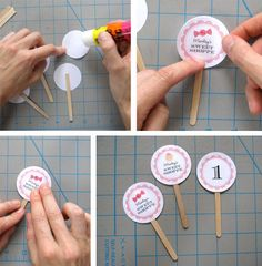 DIY custom cupcake picks.  Could use photos, grad clip art or personalized messages.