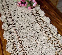 "Free Crochet Retangle Tablecloth Patterns | Handmade Crocheted Table cloth/Table runner , 16x59""(40X150CM),Free ..."