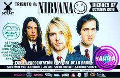 ATENCIÓN ESTO ES HOY VIERNES 7/10 TRIBUTO A NIRVANA por YANTRA En el @elmolinoccs cargada de mucho Grunge! Haciendo un homenaje a esta gran banda! #Grunge cover 900 llégate! no te lo puedes perder! #Grunge #friends #Nirvana #TributoANirvana #elmolinoccs