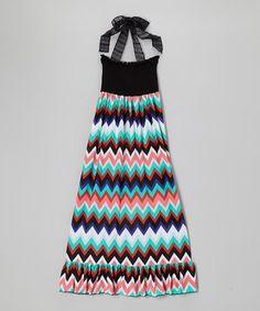 Love this Lori & Jane Black & Turquoise Zigzag Halter Maxi Dress - Girls by Lori & Jane on #zulily! #zulilyfinds