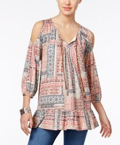 Style & Co Cold-Shoulder Peasant Top, Only at Macy's