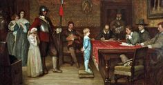 """""""And when did you last see your father?"""", the scene depicts Cromwellian Roundhead officials questioning a young Royalist boy as to the whereabouts of his father. Note the fearful women to the left and the boy's distressed sister. William Fredrick Yeames 1878."""