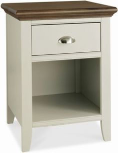 Bentley Designs Hampstead Soft Grey and Walnut Bedside Cabinet - 1 Drawer
