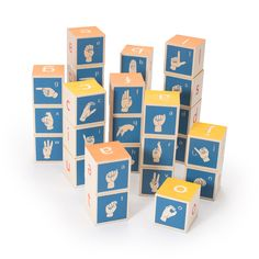 American Sign Language Blocks and over 7,500 other quality toys at Fat Brain Toys. American Sign Language Blocks are a brilliant way for kids to physically and mentally grasp the alphabet for early literacy. Each of these eco-friendly blocks features a letter embossed, in print, and also a printed American Sign Language fingerspelled letter to correspond to the blocks. 28 blocks.