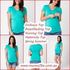 NEW Ripe Maternity Embrace Breastfeeding Nursing Top Short Sleeve, Spring Summer