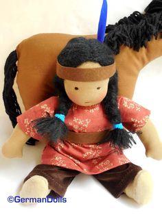 Waldorf doll 12 inch germandolls cloth doll rag by germandolls Native American Dolls, Native American Crafts, Red Indian, Indian Dolls, Natural Toys, Waldorf Toys, Blue Feather, Boy Doll, Felt Toys