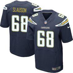 Men's Nike Los Angeles Chargers #68 Matt Slauson Elite Navy Blue Team Color NFL Jersey