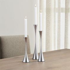 Arden Mirrored Stainless Steel Taper Candle Holder Set - Crate and Barrel Lantern Candle Holders, Candle Holder Set, Unique Furniture, Custom Furniture, Chandelier Design, Console, Classic Dinnerware, Home Decor Vases, Crate And Barrel