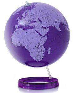 Lila Design Globus,aus fluoreszierendem Acrylglas in Lila, 30cm