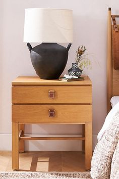 Amber Lewis for Anthropologie Sunfair Nightstand Leather Texture, Wood Texture, Natural Texture, Oak Nightstand, Nightstands, Ventura Homes, Leather Drawer Pulls, Amber Interiors, Stitching Leather