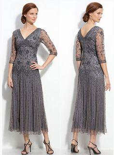 Two Piece Mother of Bride Dress Tea Length