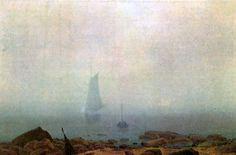 Caspar David Friedrich, Rivage dans le brouillard, Vers 1807, Huile sur toile, Österreichische Galerie Belvedere, Wien