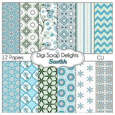 Digital Scrapbooking: Sarah Digital Scrapbook Paper (Textured Blue and Green),  Instant Download #blue #scrapbookingpapers #digitalscrapbooking #diy