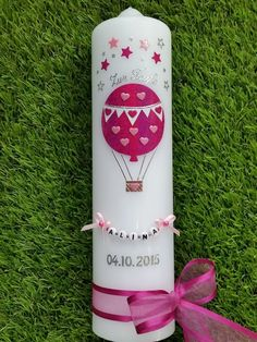 Taufkerze TK105 Heißluftballon in Pink-Rosa Holoflitter