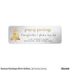 Seasons Greetings Silver Golden Christmas Tree Return Address Label