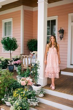 Gal Meets Glam Easter Brunch On The Porch -Julia- Club Monaco Dress & Heels c/o