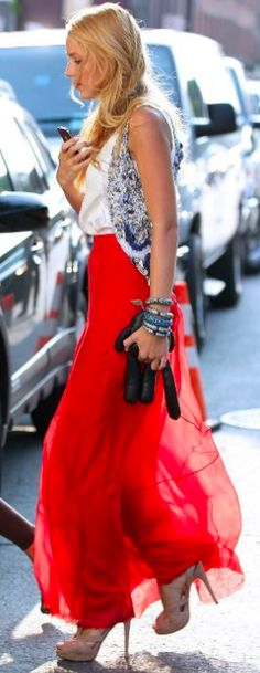 Love this outfit!!!! Maxi skirt and glitter vest