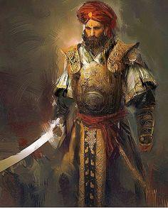 Middle-Eastern male warrior fantasy rpg, fantasy world, high fantasy, medieval fantasy Fantasy Portraits, Character Portraits, Fantasy Armor, Medieval Fantasy, Dnd Characters, Fantasy Characters, Fantasy Character Design, Character Art, Character Concept