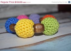 ON SUPER SALE Teething Ring Green Yellow by BellaHenryBoutique, $10.40