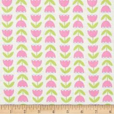 Tulip Floral Fabric by the Yard, Cotton, Quilt, Pink, Green, Blue, Baby Girl, Nursery, Girly, Children's, Apparel, Craft, Decor by BirdOnABough on Etsy