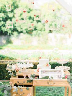 Dessert table: http://www.stylemepretty.com/little-black-book-blog/2015/03/23/whimsical-garden-inspired-bridal-shower/ | Photography: Honey Honey - http://www.hoooney.com/
