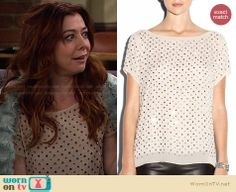 Lily's beige rhinestone studded top on How I Met Your Mother.  Outfit Details: http://wornontv.net/27549/ #HIMYM