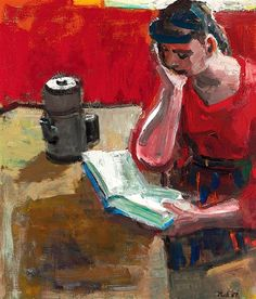 ✉ Biblio Beauties ✉ paintings of women reading letters and books - David Park | Woman Reading