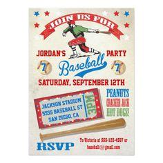 Vintage Baseball birthday party invitations