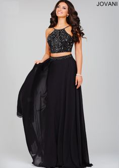 Jovani 33848 Beautiful sleeveless two-piece chiffon dress features a beaded embellished bodice