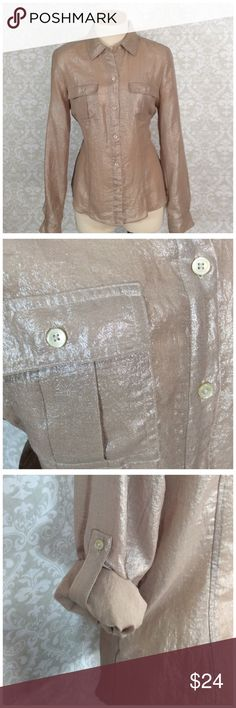 """CALVIN KLEIN SHINY SHIRT The color is a golden, brassy.  Rather sheer but not really see through.  Roll the sleeves or wear down. Great office shirt.  100% Polyester Nice and thin to wear with a blazer. 18"""" at chest. 22"""" long rather fitted great condition Calvin Klein Tops Button Down Shirts"""