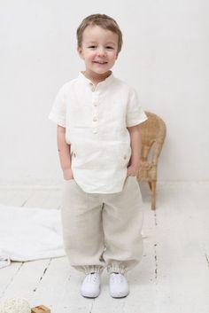 Boys natural linen shirt Toddler boy short sleeve shirt Boys Summer Outfits, Toddler Outfits, Baby Boy Outfits, Kids Outfits, Kids Dress Wear, Boys Wear, Baby Dress, Baby Boy Shirts, Boys Shirts