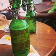 Grolsch Brewery - An opened bottle of Grolsch premium lager.
