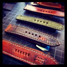 Just another rainy day of making straps :-)  www.vintagerstraps.com #vintagerstraps #paneraistraps #paneraicentral #handmade #madeintheusa #watchstraps #panerai