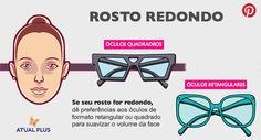 """ROSTO REDONDO - Usar óculos de grau ou de sol, pode ser muito estiloso!! Para que um acessório desse possa """"vestir"""" bem o seu rosto, saiba mais sobre o tipo do mesmo, formato e outros! Por MKT Atual Plus - www.atualplus.com.br Vestimos do 48 ao 58"""