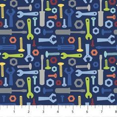 Main fabric for quilt and curtains  Northcott Robotex by Mint Blossom 4403 49 Blue Tools Cotton Fabric FREE US SHIP