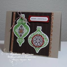 Ornaments - Green & Champagne by MoonChild - Cards and Paper Crafts at Splitcoaststampers