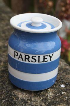 Vintage TG Green Cornishware – Kitchen Storage Jar – Parsley.