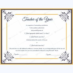Teacher of the year 08 pinterest certificate and teacher yelopaper