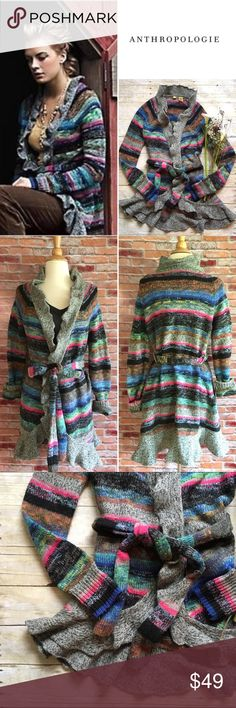Moth Splash of Color cardigan Drenched stripes of fuchsia, jade and cobalt offset the deeper and darker tones of this ruffled sweater coat. By Moth. This sweater has light pilling but otherwise good condition. Belt is included! Ruffled trim. Size medium. Anthropologie Sweaters Cardigans