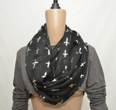 Black infinity scarf with cross print by ScarfPlus on Etsy, $12.99