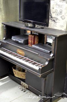 Repurposed Piano into Entertainment Unit or Bar. Via www.gypsybarn.com