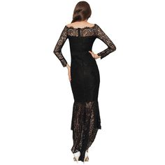 45c03740be0 ohyeah Women Solid Formal Lace Maxi Dress Long Sleeve Boat Neck ...