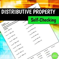 Distributive property practice for your students that is easy to check ...