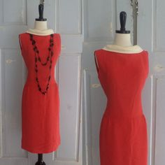 1960s Red and White Crepe Cocktail Dress $68.00